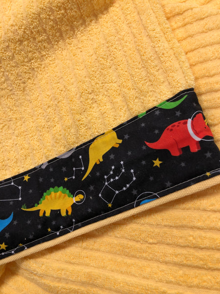 Hooded Towel - Yellow with Dinos