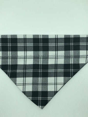 Dog Bandana - Black & White Plaid