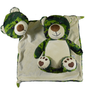Large Blanket Buddy - Green Camo Bear