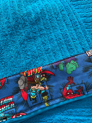 Hooded Towel - bright blue with Avengers