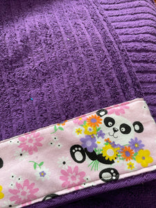 Hooded Towel - purple with pandas