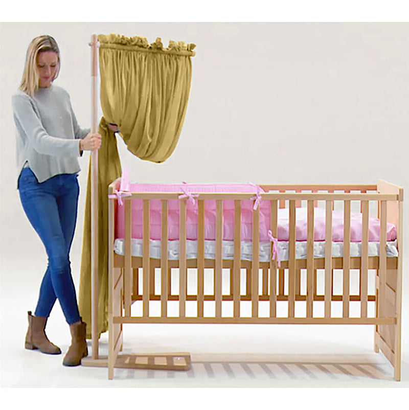 GOLDKIND PRO® Baby Bed with Shielding Canopy (white beechwood stand)