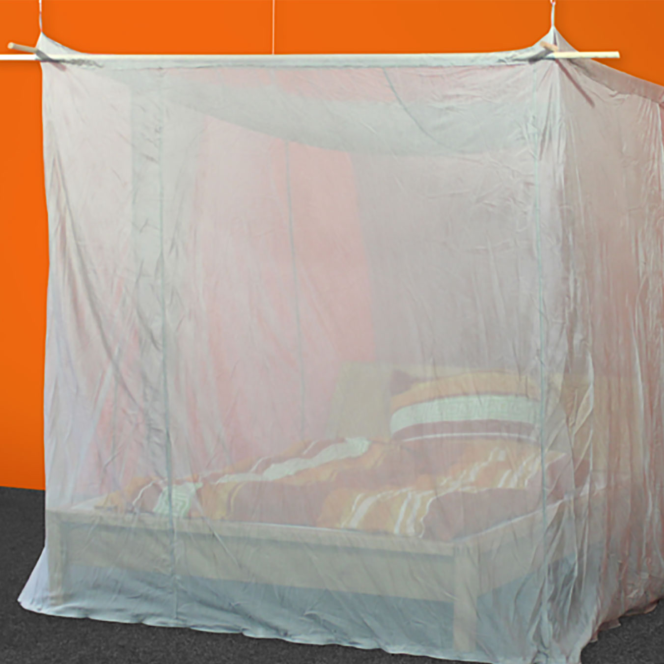 - SILVER-TULLE Shielding Canopy For Double Bed (box Shape