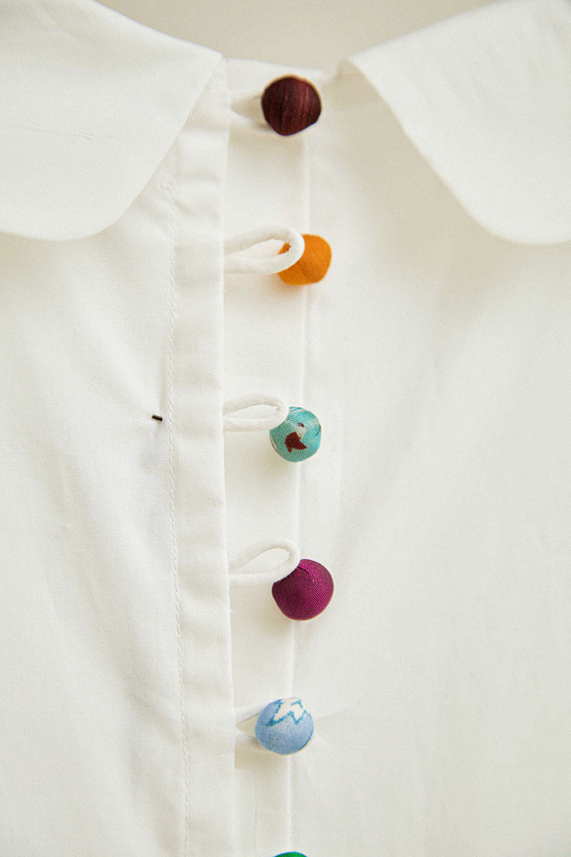 Silk sari buttons on a dress