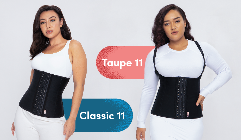 Waistlab waist trainers for longer torsos - Classic 11 and Taupe 11