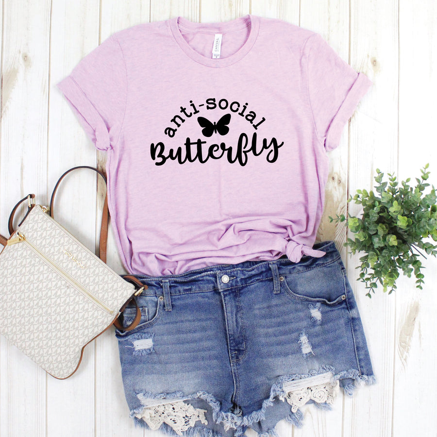 Anti-Social Butterfly , Graphic Tee - makaylagrace