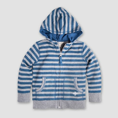french terry stripe zip organic cotton hoodie