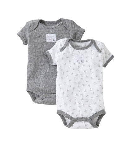 organic short-sleeve bodysuit - grey heather