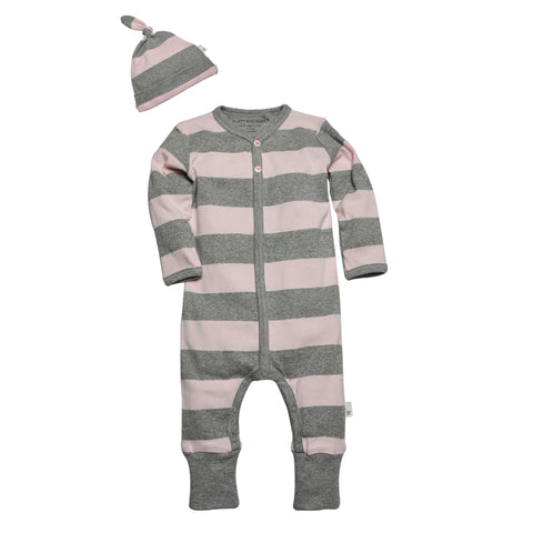 organic striped coverall & hat set