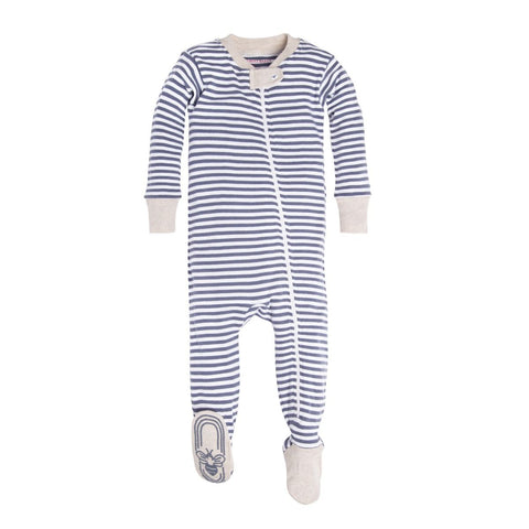 navy + heather footed organic pajamas