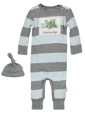 stripe thermal coverall & hat set