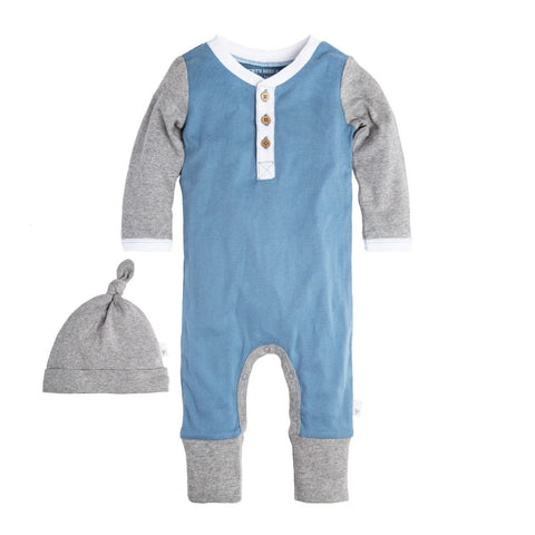 baby henley organic cotton coverall + hat set