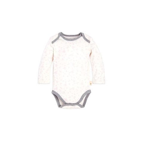 organic long-sleeve bodysuit - pink flowers