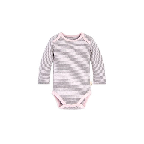 organic long-sleeve bodysuit - pink + grey pinstripe