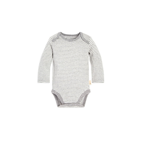 organic long-sleeve bodysuit - grey pinstripe