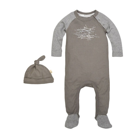 hive in the trees footed coverall & hat set