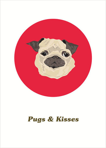 pugs & kisses love card