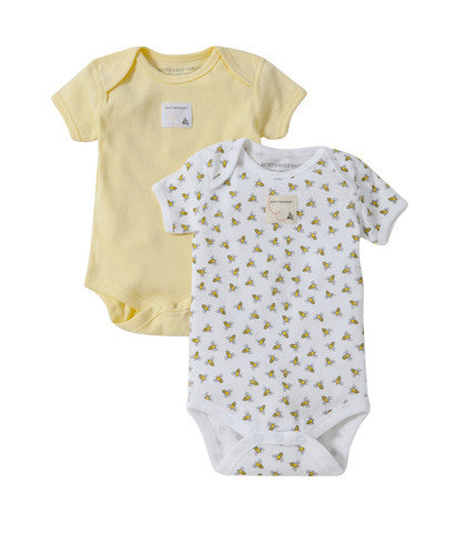 organic short-sleeve bodysuit - sunshine