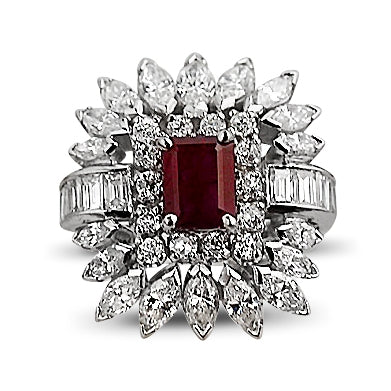 Vintage Ruby Cocktail Ring