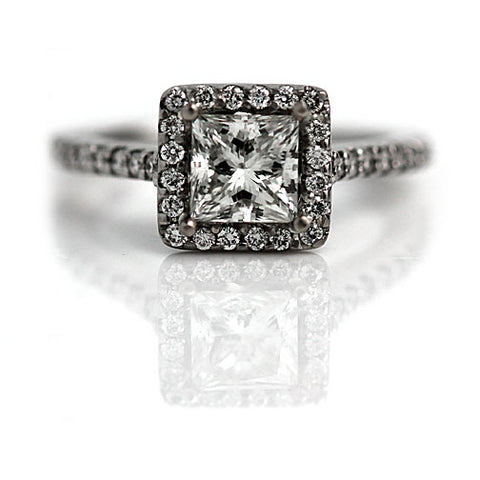 Vintage princess Cut Engagement Ring