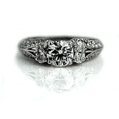 Unique Simon G Engagement Ring with Oval Cut Diamonds - Vintage Diamond Ring