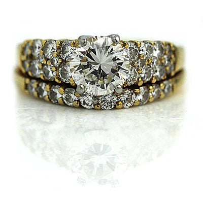 .91 carat Mid-Century Vintage Diamond Wedding Ring Set