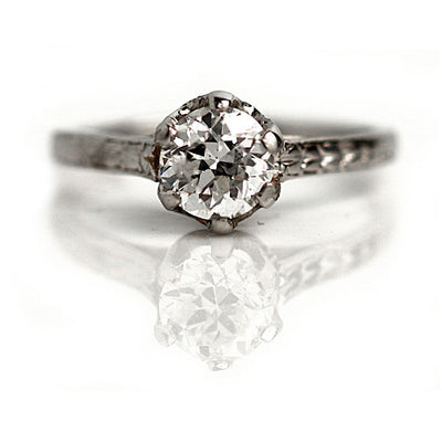 Antique Hand Engraved Solitaire Engagement Ring