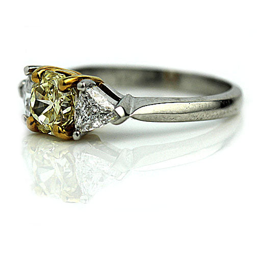 Vintage 1.26 Carat GIA Fancy Yellow Diamond Ring in Platinum