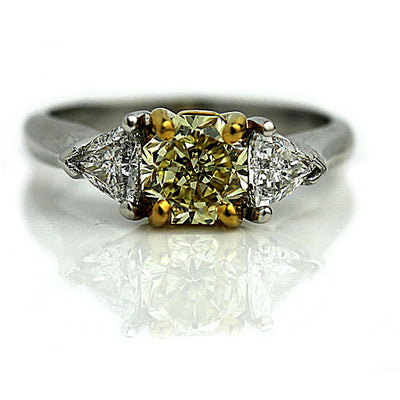 Fancy Yellow Diamond Engagement Ring - Vintage Diamond Ring