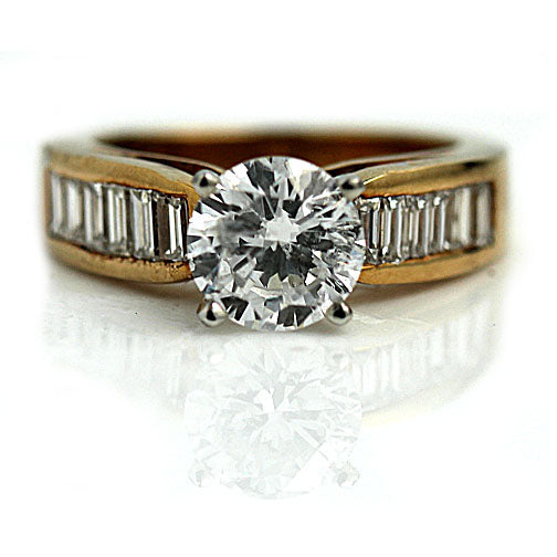 Mid-Century GIA 1.43 Carat Round Diamond Engagement Ring H I1