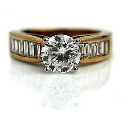 1.43 ct Mid-Century Diamond Engagement Ring with Baguettes