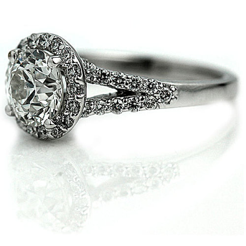 European Cut Split Shank Halo Engagement Ring
