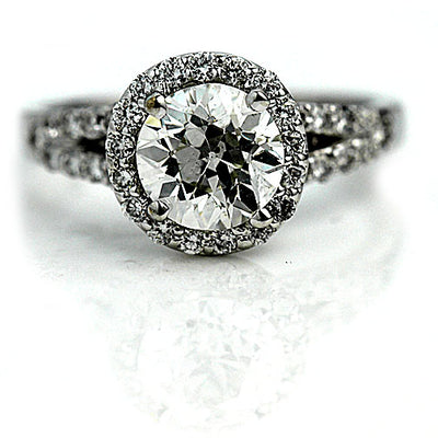 1.71 ct European Cut Split Shank Halo Engagement Ring