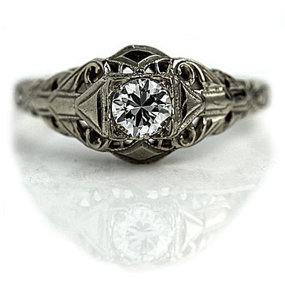 Rare Antique Diamond Solitaire Engagement Ring