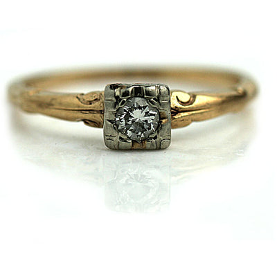 Dainty Diamond Solitaire Engagement Ring