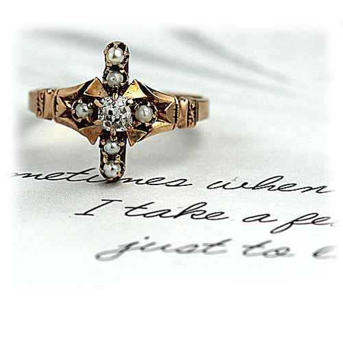 Victorian Rose Gold Diamond Engagement Ring with Pearls