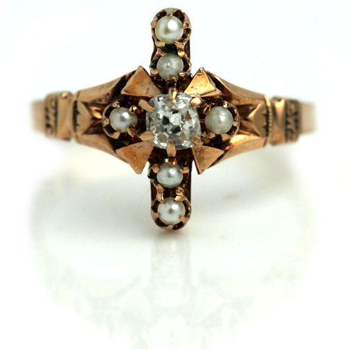 Victorian Rose Gold Diamond Pearl Ring .20 Carat