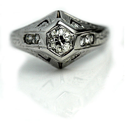 Mine Cut Diamond Filigree Engagement Ring
