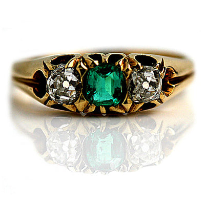 Victorian Emerald & Mine Cut Diamond Engagement Ring - Vintage Diamond Ring