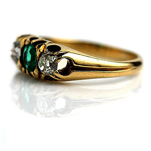 Low Profile Emerald Engagement Ring with Mine Cut Diamonds