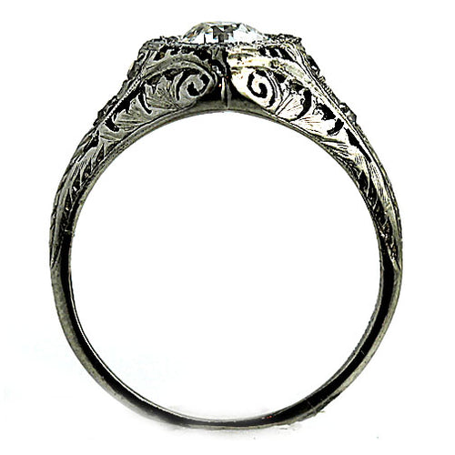 Intricate Prong Set Vintage Diamond Engagement Ring