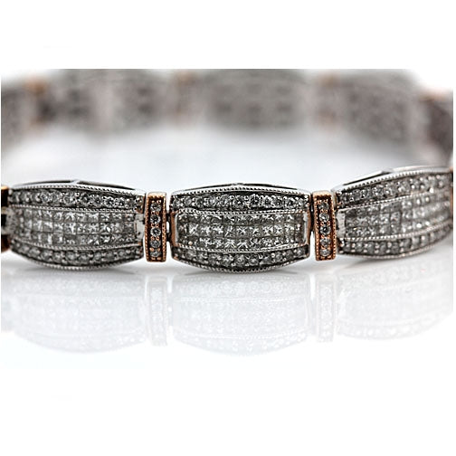 Vintage Invisible Set Diamond Bracelet 10.00 Carat