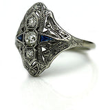 Edwardian Three Stone Platinum Diamond Sapphire Ring