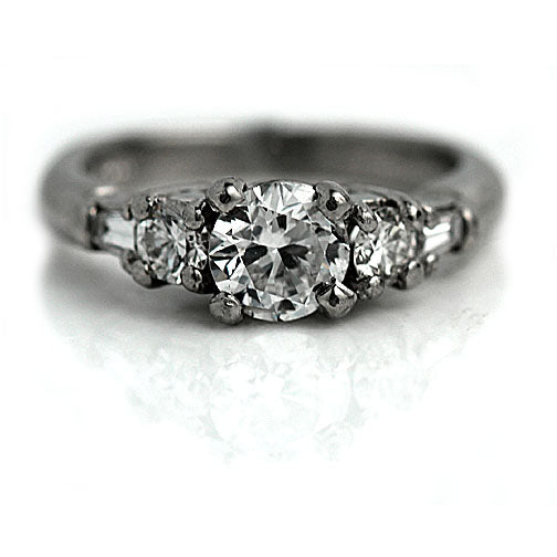 .77 Carat Vintage Diamond GIA Engagement Ring in Platinum