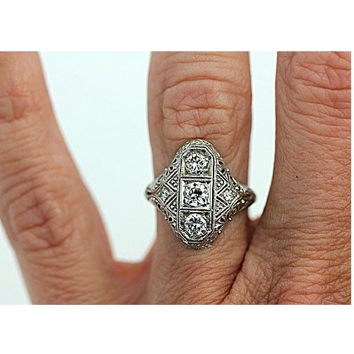 Edwardian Platinum Diamond Dinner Ring .75 Carat
