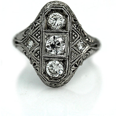 Vertical Edwardian Three Stone Engagement Ring