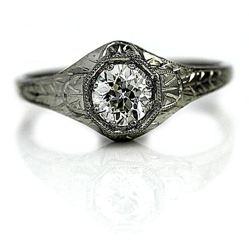 .57 Carat Art Deco Platinum Engagement Ring
