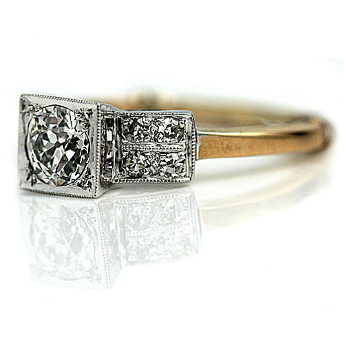 Vintage Two Tone Square Engagement Ring with Double Shank