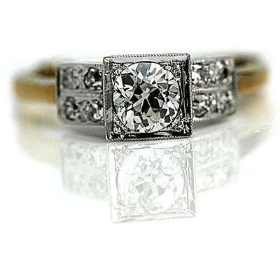 Vintage Double Row Square Diamond Engagement Ring