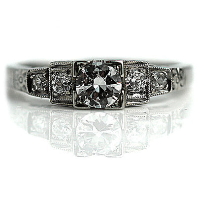 Diamond Engagement Ring with Tiered Side Diamonds